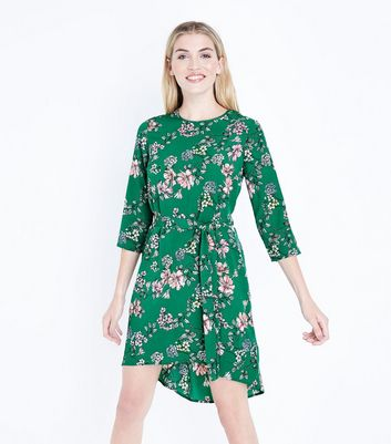 Green Floral Print Dip Hem Crepe Dress