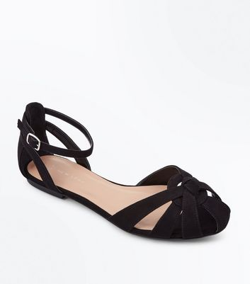 Wide Fit Black Suedette Caged Pumps