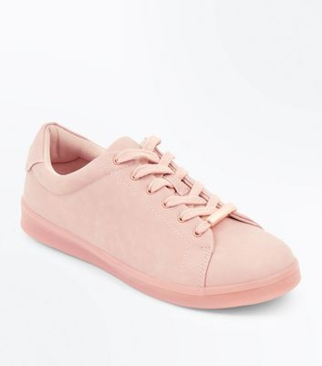 Pink Clear Sole Lace Up Trainers