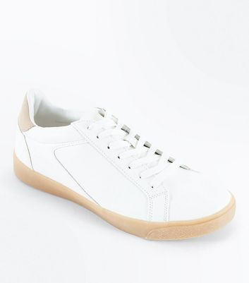 White Gum Sole Lace Up Trainers