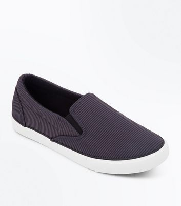 Grey Corduroy Slip On Trainers