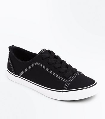 Black Contrast Stitch Lace Up Trainers
