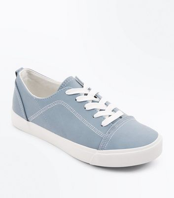 Blue Contrast Stitch Lace Up Trainers