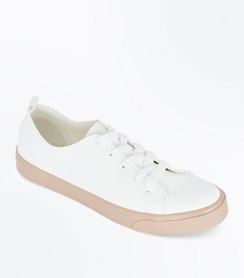 Pink Contrast Sole Lace Up Trainers