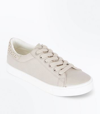 Grey Cut Out Back Lace Up Trainers