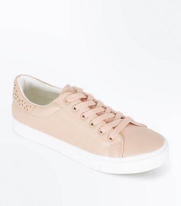 Pink Cut Out Back Lace Up Trainers