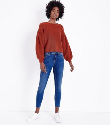 Blue Mid Wash Cropped Skinny Jenna Jeans