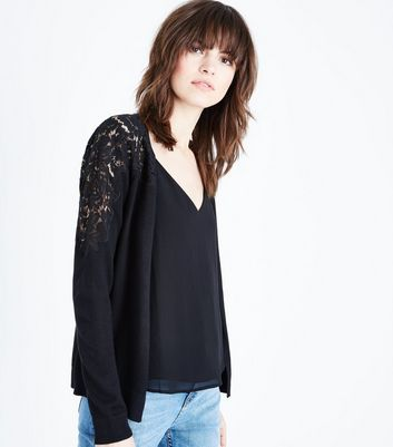 Black Lace Yoke Cardigan