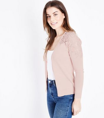 Pale Pink Lace Yoke Cardigan