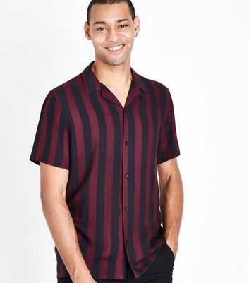 Burgundy Stripe Revere Shirt