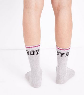 Pale Grey Boy Bye Slogan Socks
