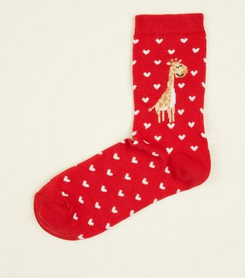 Red Heart Giraffe Pattern Socks