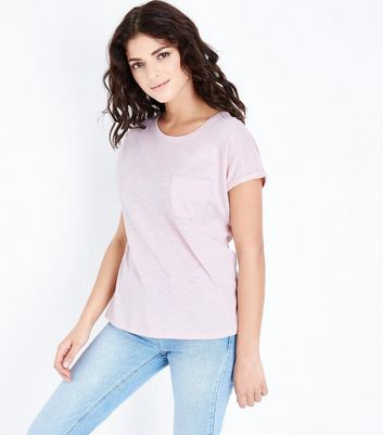 Pink Organic Cotton Pocket Front T Shirt by New Look