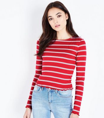 Red Stripe Crew Neck Long Sleeve T-Shirt
