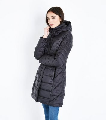 Black Longline Lightweight Puffer Jacket