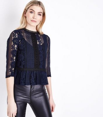 Navy Contrast Lace Peplum Hem Top