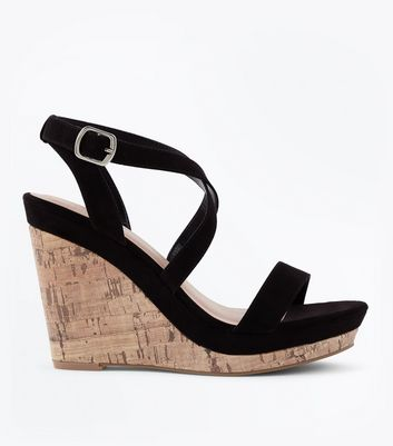 Black Suedette Strappy Cork Wedges