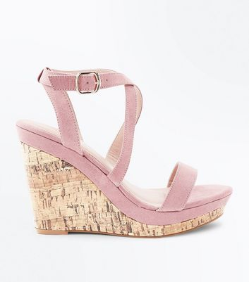 Pink  Suedette Strappy Cork Wedges