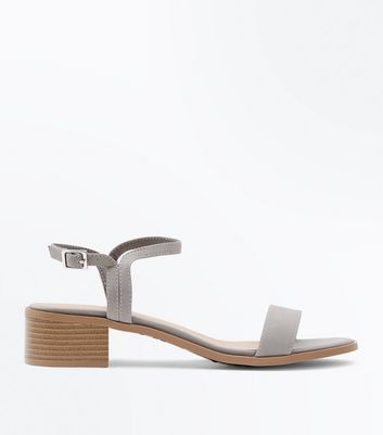 Grey Low Block Heel Sandals
