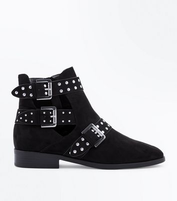 Wide Fit Black Suedette Cut Out Buckle Side Boots