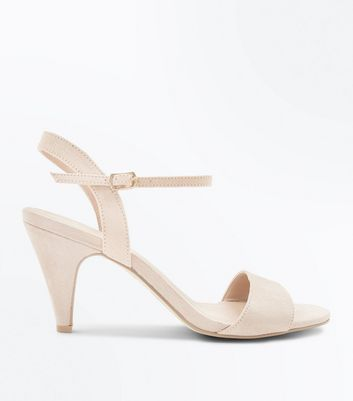 Wide Fit Nude Cone Heel Ankle Strap Sandals