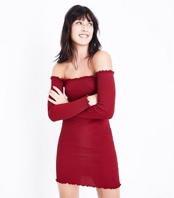 Cameo Rose Burgundy Frill Trim Bardot Neck Dress