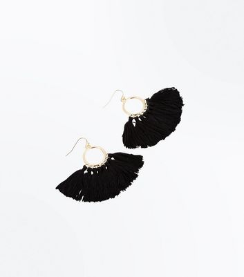 Black Tassel Fan Hoop Earrings