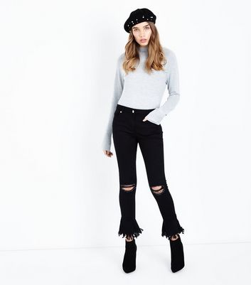 Parisian Black Ripped Bell Flare Skinny Jeans