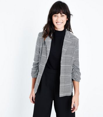 Parisian White Dogtooth Check Ruched Sleeve Blazer