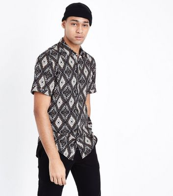Black Aztec Print Short Sleeve Shirt