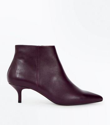Burgundy Premium Leather Kitten Heel Boots