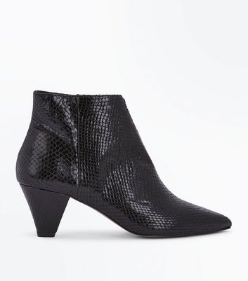 Black Premium Leather Snakeskin Texture Heeled Boots