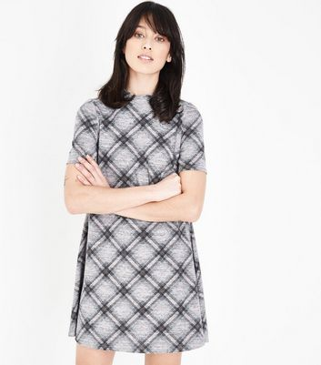 Light Grey Check Print Brushed Swing Dress