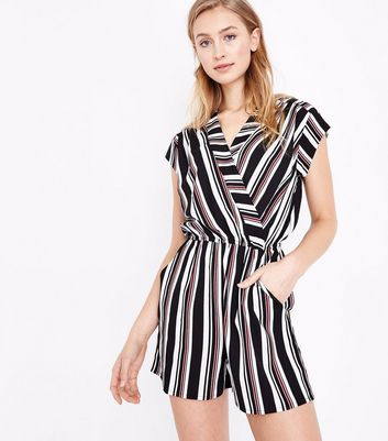 Black Stripe Wrap Front Playsuit