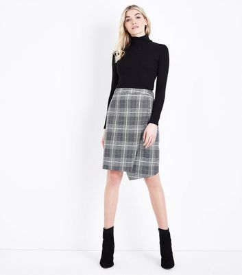 Light Grey Glitter Check Wrap Front Skirt