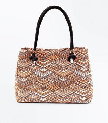 Orange Contrast Diamond Patterned Shopper Bag