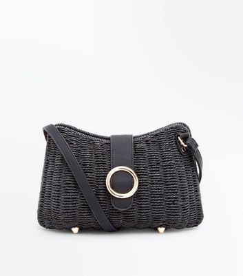 Black Ring Front Woven Cross Body Bag