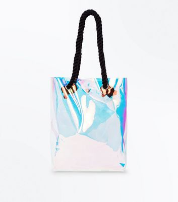 Clear Holographic Rope Strap Shopper Bag