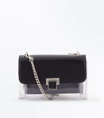 Black and Clear Chain Strap Cross Body Bag