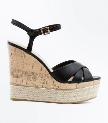Black Cross Strap Metal Trim Cork Wedges