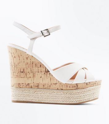 White Cross Strap Metal Trim Cork Wedges