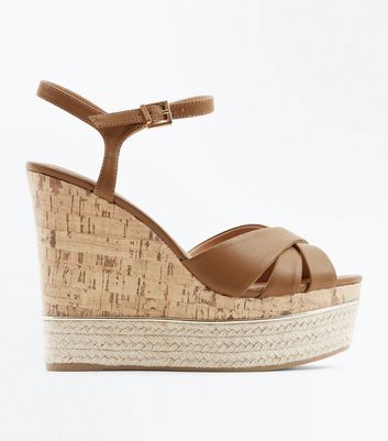 Tan Cross Strap Metal Trim Cork Wedges