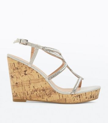 Silver Gem Embellished Platform Wedges