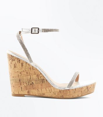 Silver Diamante Embellished Cork Wedges