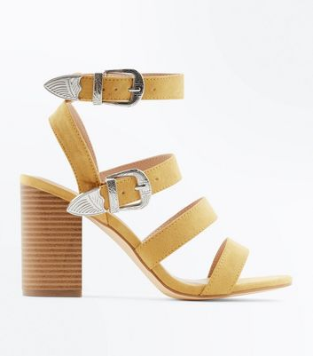 Mustard Suedette Western Buckle Heeled Sandals