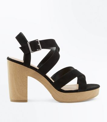 Black Suedette Strappy Wooden Heel Sandals