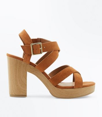 Tan Suedette Strappy Wooden Heel Sandals