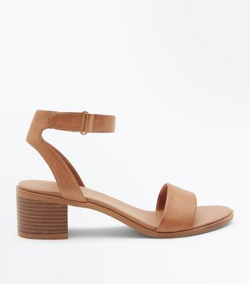 Tan Low Block Heel Flexible Sole Sandals