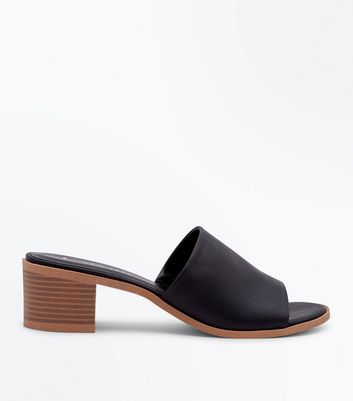 Black Wooden Block Heel Mules