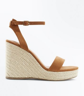 Tan Suedette Ankle Strap Espadrille Wedges